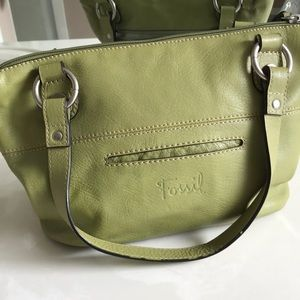 Fossil Genuine Leather Green Handbag